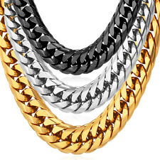 Stainless Steel 18K Gold Plated 12mm Chunky Franco Chain Necklace Men's Jewelry