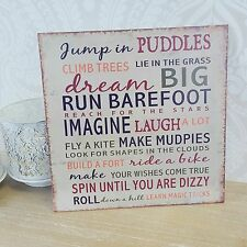Wall Hanging Jump In Puddles  Plaque Sign Metal  Shabby Chic Vintage