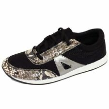 LADIES BLACK SNAKESKIN CASUAL GYM SPORTS RUNNING JOGGING TRAINER SHOES SIZES 3-8