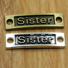 "5/50pcs Retro Style""sister""Tibet Silver bracelet Charms Connectors 2x9x35mm"