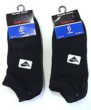 Ladies Trainer Ankle Black Socks with LYCRA - 6 OR 12 PAIRS - UK 4-7, EUR 36-41