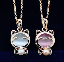 Fashion Lucky Cat Pink Cat's Eye Opal Stone Bow Pearl Pendant Necklace Gift New