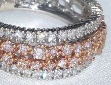 Estate Diamond Band Partial Eternity 18k Rose & White Gold Sparkle B176EXT