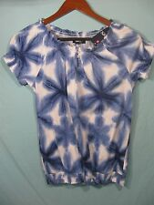 NWT Chaps by Ralph Lauren Women's Tie Dye White and Blue Short Sleeve Top