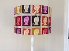 NEW Handmade Drum  Lampshade - Prestigious First Class Stamp fabric in Mulberry