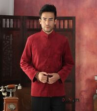Red Chinese Tradition Men's Kung Fu Jacket Long sleeve Embroider Dragon Coat