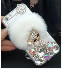 T1 Diamante Bling Beaver Rabbit Fur Back Case Cover For iPhone/Samsung
