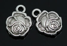 New 20/80/400pcs Antique Silver Beautiful Roses Jewelry Charms Pendant 14x10mm