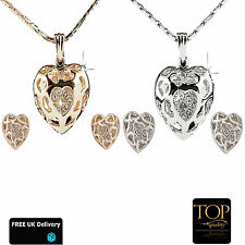Fashion Ladies Silver Swarovski Crystal Elements Heart Necklace & Earrings Set