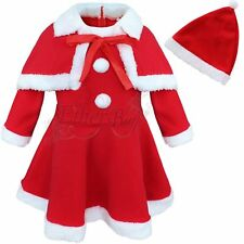 Girl Red Holiday Christmas Santa Dress Shawl Hat Outfit Set Toddler Baby Clothes