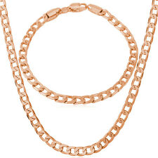 Platinum Plated /Rose Gold Tone Curb Chain Necklace Bracelet Jewelry Set for Men
