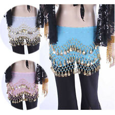 3 colors Hot 3 Rows Belly Dance Dancing Hip Skirt Scarf Wrap Belt Hipscarf US
