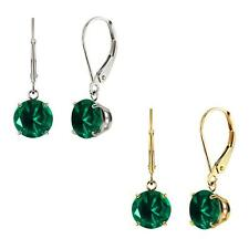 10k White or Yellow Gold 8mm Round Lab-Created Emerald Leverback Dangle Earrings