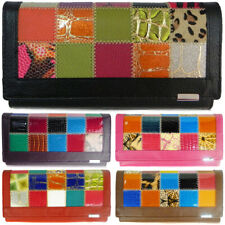 Fashion Ladies Real Soft Leather Patchwork Bifold Long Coin Purse Womens Wallet
