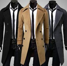 Mens Double Breasted Overcoat Pea Coat Long Trench Slim Jacket Blazer Outerwear