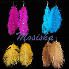 2pc Ostrich Feather Resin Crystal Dangle Hook Earring Chandelier Style 4 Colors