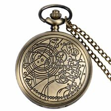 New Vintage Full Hunter Quartz Doctor Who Necklace Pocket Watch Chain 3 Colors