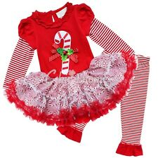 Toddler Baby Girls Xmas Costume Candy Cane Top Shirt Tutu Dress Pants Outfit Set
