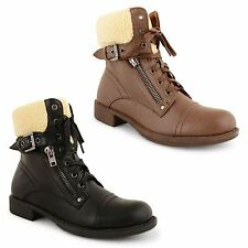 Womens Ladies Dolcis Casual Flat Heel Fur Lined Snow Lace Up Ankle Boots Shoes