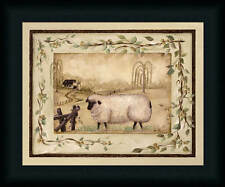 Spring Sheep Michele Musser 12x15 Country Primitive Framed Art Print Picture