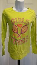 "NWT ""Girls Love Tennis"" Sparkly Long Sleeve Lime Green Tee - Sizes S, XL & 2XL"