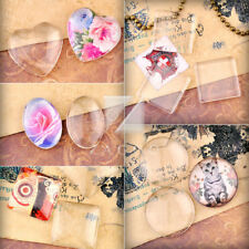 Clear Round/Oval/Square/Heart Flatback Glass Cabochon Dome Fit Cameo Settings