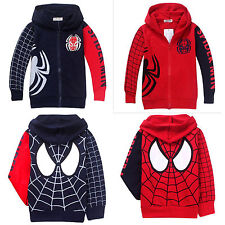 Kids Boy Spiderman Outfits Hoodies Coat Jacket Zip Sweatshirts Outwear Top 1-9 Y