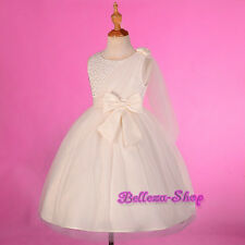 Ivory Beaded Shawl Occasion Dress Wedding Flower Girl Pageant Size 18m-8 FG275