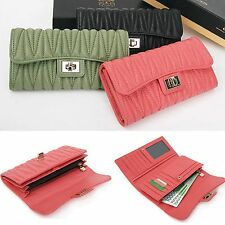 Genuine Leather Pleat Quilted Trifold Long Wallet Purse Clutch Bag Turn Lock New