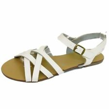 LADIES WHITE FLAT STRAPPY GLADIATOR SUMMER SANDALS FLIP-FLOP SHOES SIZES 3-9