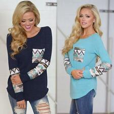 New Fashion Womens Ladies Pocket Sequins Splice Long Sleeve Tops T Shirt Blouse