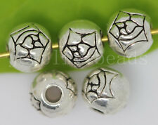 New 20/100/500pcs Antique Silver Flower ball Spacer Beads DIY Charms Jewelry 6mm