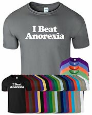 I Beat Anorexia Mens Tshirt Short Sleeves Fancy Womens Classic Top Tee T-Shirt