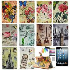 2015 New For Apple iPad smart tablet case stand cover retro pattern film pen