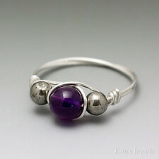 Amethyst & Pyrite Sterling Silver Wire Wrapped Bead Ring