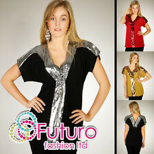Lovely Party Mini Dress Sequins Tunic V Neck Top Blouse Size 8-12 HQ RO16