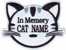 IN MEMORY OF CUSTOM CAT NAME (WHITE) EMBROIDERED PATCH