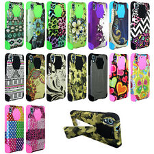 HTC Desire 626 Rubberized Design Dual Layer Hybrid T-Kickstand Cover Case + Film