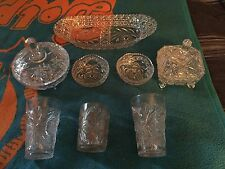 Lot of 8 pieces of Antique Clear Pressed Glass - Candy Dishes, Glasses, Bowls