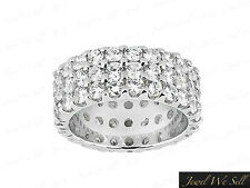 4.00Ct Round Brilliant Cut Diamond 3Row Anniversary Eternity Ring 14K Gold G SI1