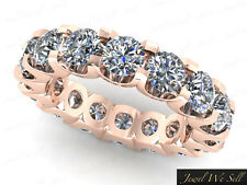 Natural 5.00Ct Round Diamond Shared U-Prong Eternity Band Ring 18K Gold H SI2