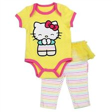 Hello Kitty Yellow Embroidered Creeper With Tutu Leggings:Sizes 0/3, 3/6, & 6/9