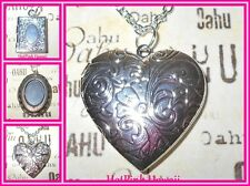 Photo Locket Antique Silver Necklaces Oval Square Heart Large I CARRY YOUR HEART