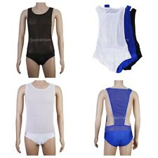 Sexy Mens C-thru Bodysuit Mesh Lingerie Teddy Underwear Tights Nightwear Stretch