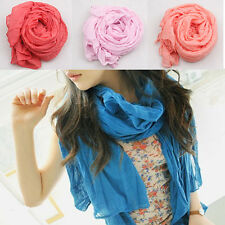 2015 New Women Long Fluid Systems Big Crinkle Voile Soft Scarf Wrap Shawl Stole