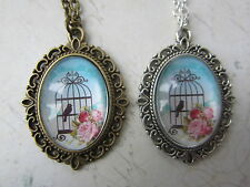"Vintage Rose Blue Bird Cage Print Cameo 18"" Necklace Bronze / Silver New in Bag"
