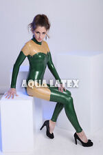 Rivet Latex Catsuit Fashion Rubber Costume Full Body Suit Mid Neckline