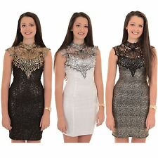 Ladies Sleeveless High Floral Crochet Lace Neck Glitter Foil Bodycon Mini Dress