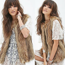 Chic Womens Faux Fur Vest Sleeveless Outerwear Long Waistcoat Ladies Coat Jacket