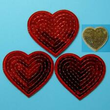 3 Sequin Gold Heart Love Shining Iron on Sew Patch Applique Badge Embroidered